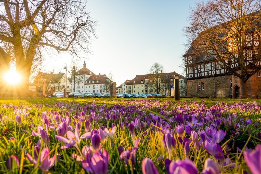 Zeughaus in Gießen im Frühling